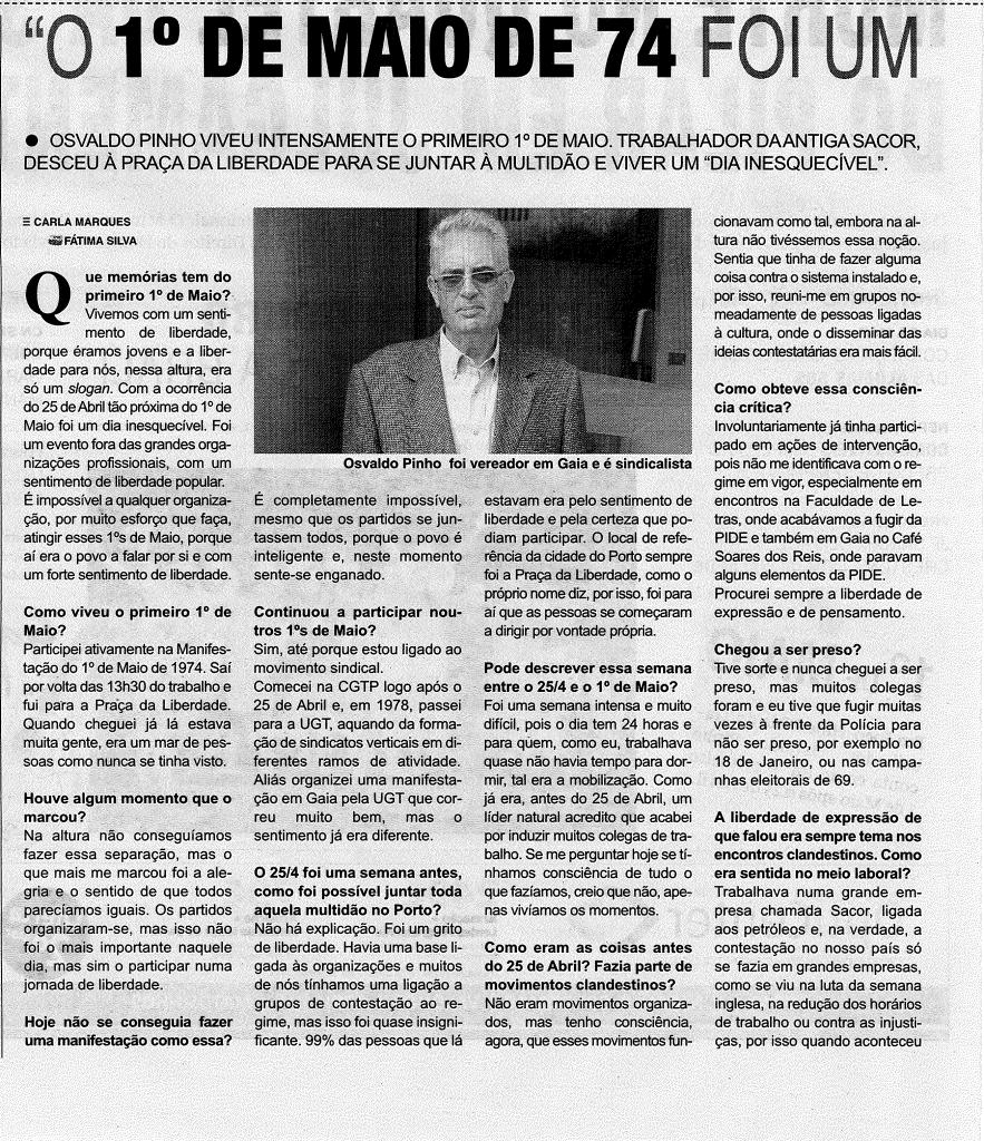 osvaldo pinho, sindeq, UGT, 1º maio, entrevista